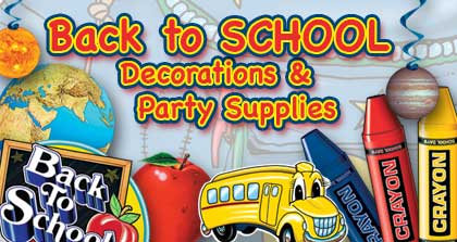 Back to school decorations party supplies partycheap for Back to school party decoration ideas