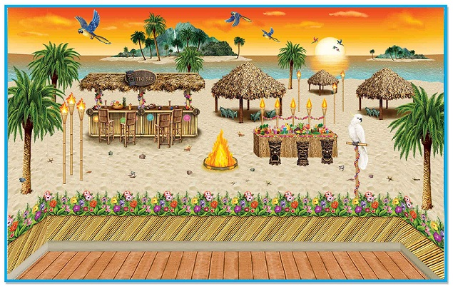 Luau Beach Backdrops, Backgrounds & Props
