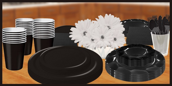 Black Solid Color Tableware