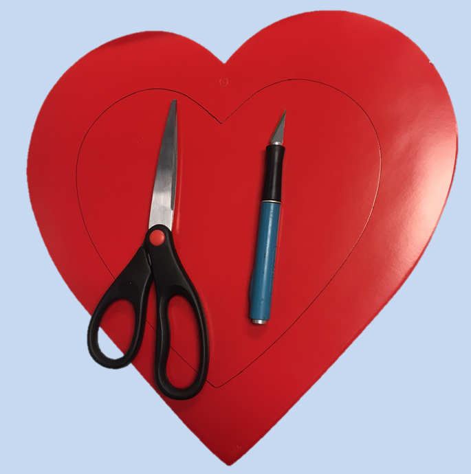 Cut out the traced heart