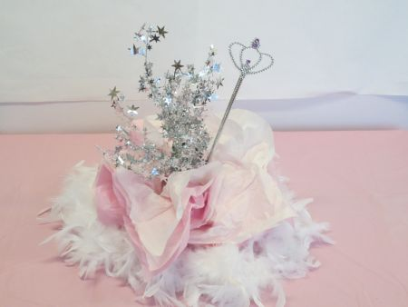 White Fancy Feather Boa Princess Party Centerpiece & Princess Party Centerpiece Ideas - PartyCheap