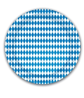 This Oktoberfest Paper Plate in blue and white harlequin pattern is just one of the many tableware selections available from PartyCheap.
