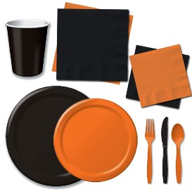 Orange and Black Tableware Pattern