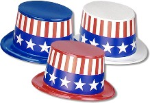 Patriotic Plastic Topper Hats