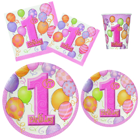 Pink 1st Birthday Tableware