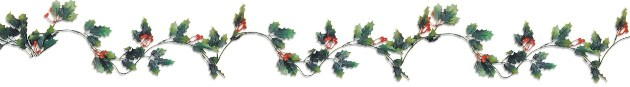 plastic holly berry garland