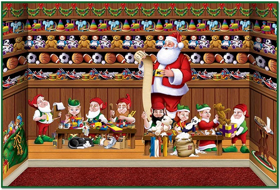 Santa's Workshop Backdrop