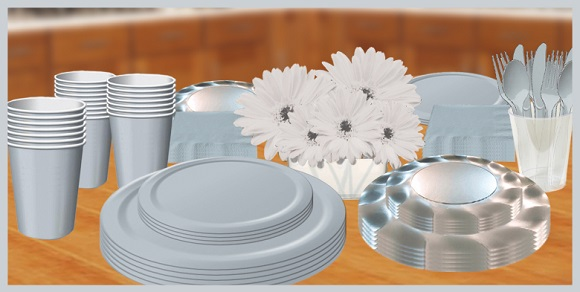 Silver tableware, cups, plates, napkins & utensils