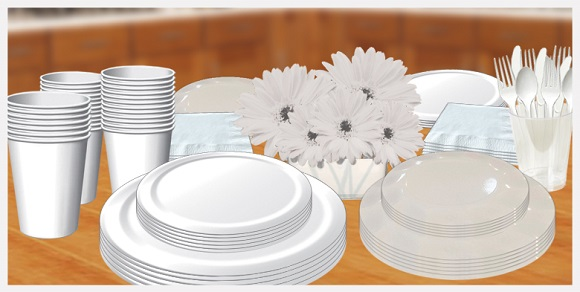 White tableware, cups, plates, napkins, utensils