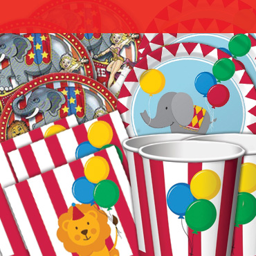 Circus Tableware, Cups, Plates & Napkins