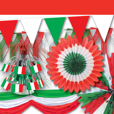 Italian Red White & Green Decorations
