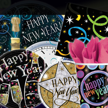 New Years Tableware, Cups, Plates & Napkins