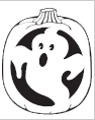 Ghost Jack-O-Lantern carving pattern from PartyCheap