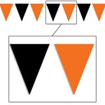 Orange and Black Outdoor Pennant Banner, 30 ft