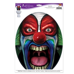 You're gues willbe glad they're in the bathroom when they see this Under The Lid Scary Clown Peel 'N Place