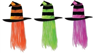 Witch Hat with Hair (Choose Color)