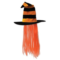 Orange Witch Hat with Orange Hair