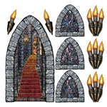 Castle Stairway, Window, and Torch Props (9/Pkg)