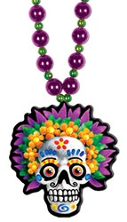 Beads with Day Of The Dead Medallion