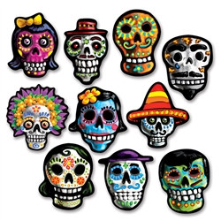 Mini Day Of The Dead Cutouts (10/Pkg)