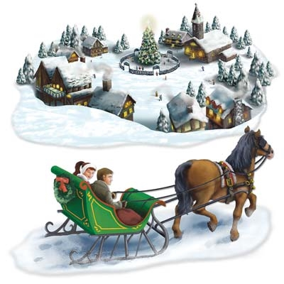Holiday Village And Sleigh Ride Props PartyCheap