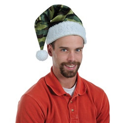 Velvet Camo Santa Hat with Plush Trim