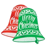 Glittered Christmas Bell Sign (Sold Individually)