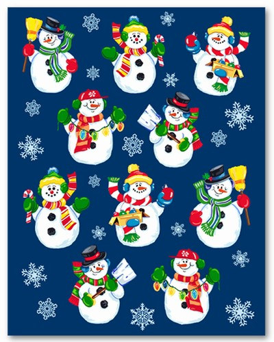 Snowman stickers 4 sheets pkg partycheap for Snowman pocket tissues