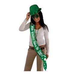 Irish Whiskey Makes Me Frisky Satin Sash