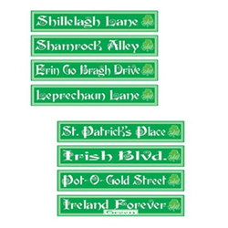 St Patrick's Day Street Sign Cutouts (4/pkg)