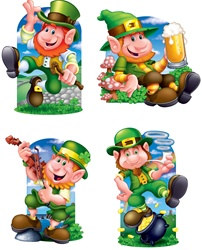 Cheerful Leprechaun Cutouts (4/pkg)