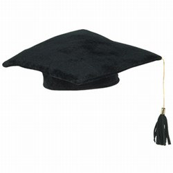 Black Plush Graduate Cap