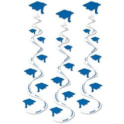 Blue Graduation Cap Whirls (3/pkg)