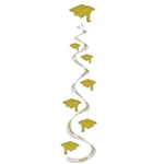 Gold Graduation Cap Whirls (3/pkg)