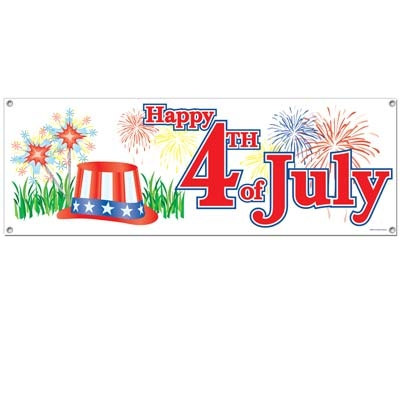 Happy 4th Of July Sign Banner Partycheap