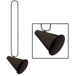 Black Beads with Megaphone Medallion (1/pkg)