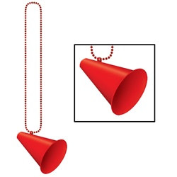 Red Beads with Megaphone Medallion (1/pkg)