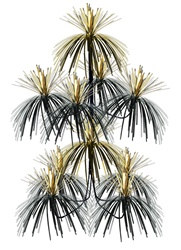 "Black and Gold Firework Chandelier, 24""x12"""