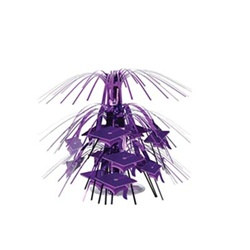 Purple Mini Grad Cap Cascade Centerpiece