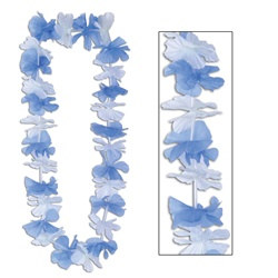 Blue and White Silk N Petals Party Lei (1/pkg)