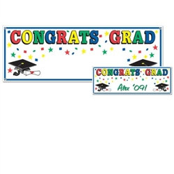 Congrats Grad Sign Banner - 5 Foot Customizable