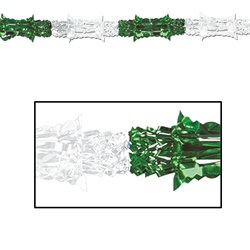 "Green and White Metallic Garland, 8""x9'  (1/Pkg)"
