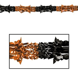 "Orange and Black Metallic Garland, 8""x9'  (1/Pkg)"