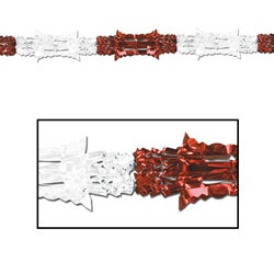 Red and White Metallic Garland, 8 in