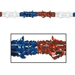 Red, White, and Blue Metallic Garland 8 in