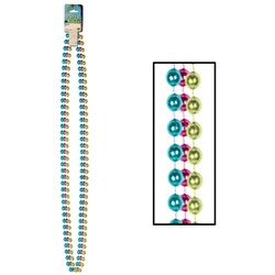 Cerise, Light Green and Turquoise Party Beads (3/pkg)