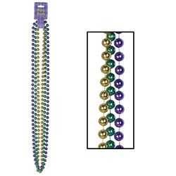 Green, Gold and Purple Party Beads (3/pkg)