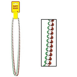 Red, White and Green Party Beads (3/pkg)
