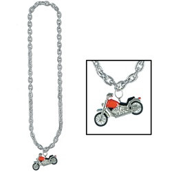 Silver Chain Beads with Chopper Medallion (1/pkg)