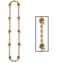 Gold Football Helmet Beads